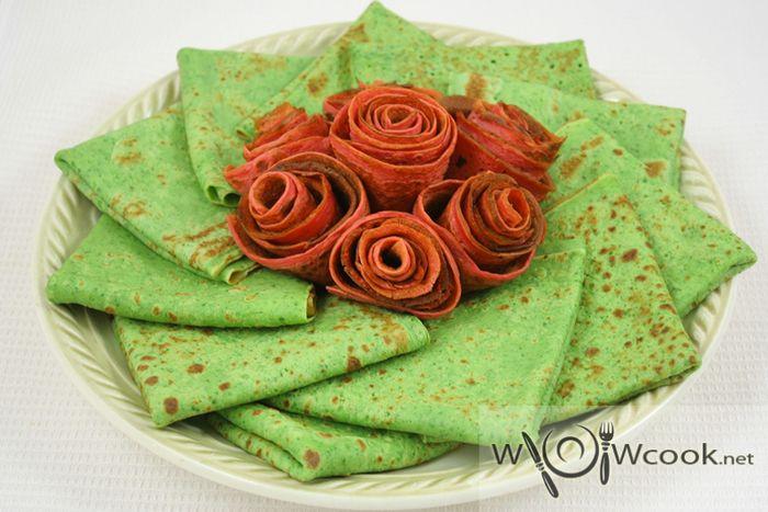 Зеленые блинчики со шпинатом