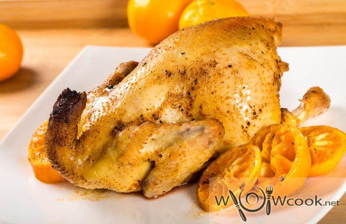 курица запеченная с мандаринами