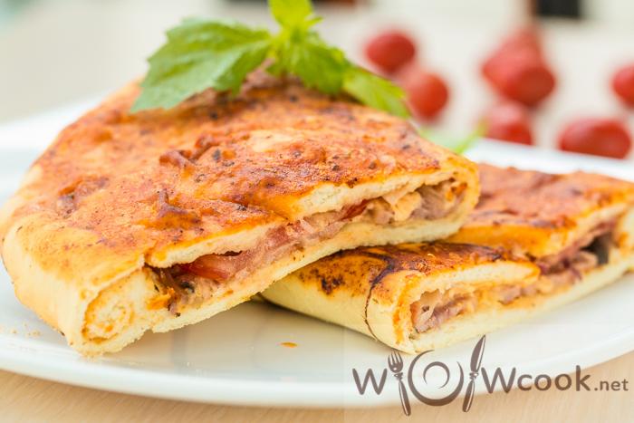 Пицца с ветчиной и грибами на французском багете , пошаговый рецепт с фото