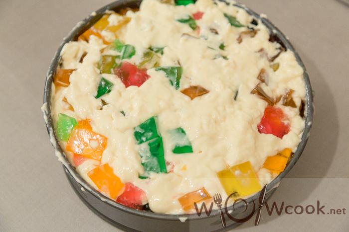 торт с разноцветным желе