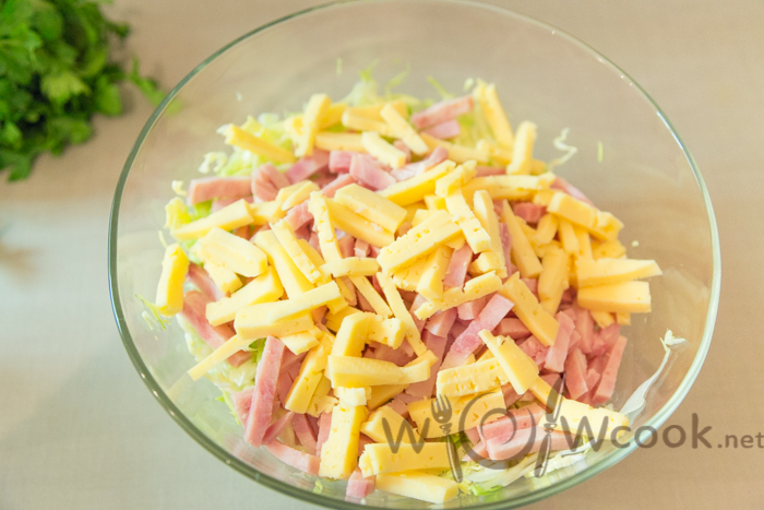 салат сыр ветчина