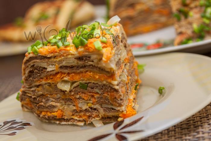 Печеночный торт с блинами  пошаговый рецепт с фото на