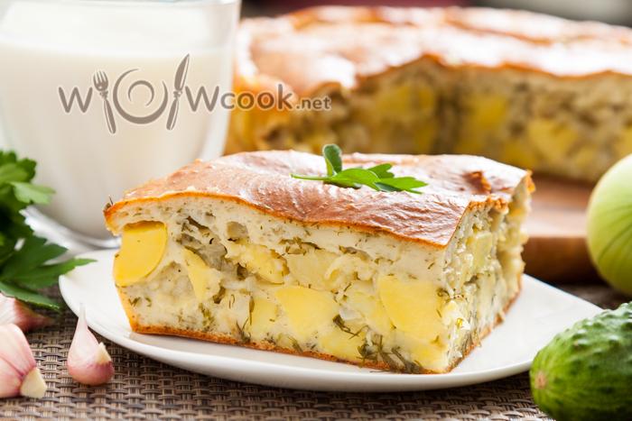 Заливной пирог с картошкой на кефире, пошаговый рецепт