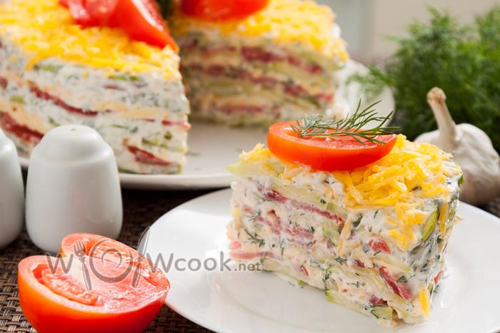 как готовить кабачковый торт с помидорами и сыром
