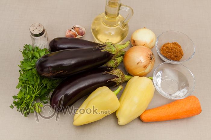 корейский салат с баклажанами, ингредиенты