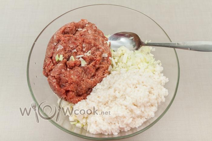 лук, капуста, фарш и рис в миску