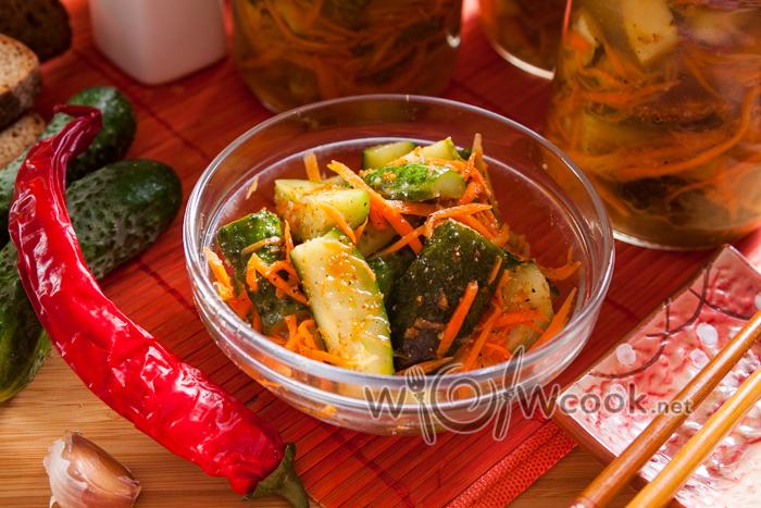 вкусный рецепт огурцов по корейски на зиму