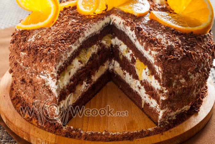 сметанный торт в разрезе, самый простой и вкусный рецепт