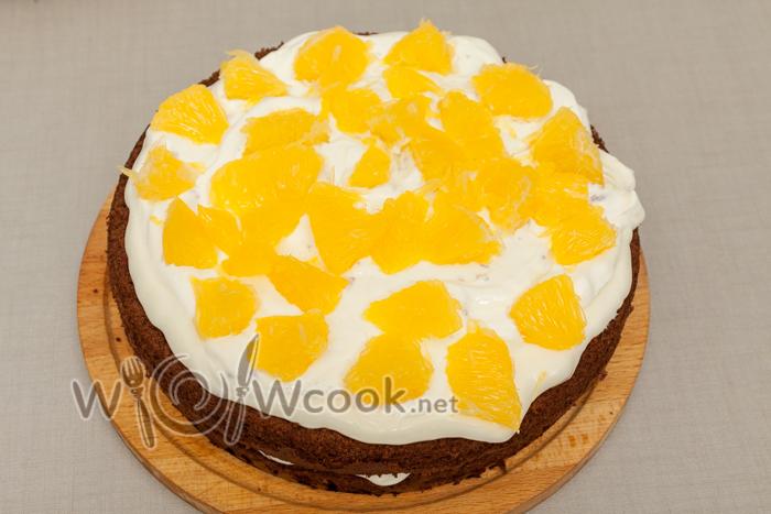 следующий корж и крем, апельсин