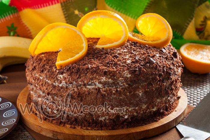 торт готов, можно украсить по вкусу