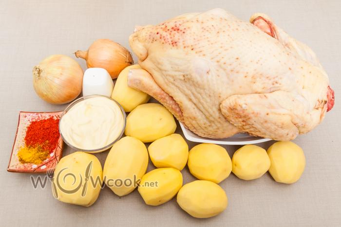 курица с картошкой в духовке и с яблоками рецепт с фото