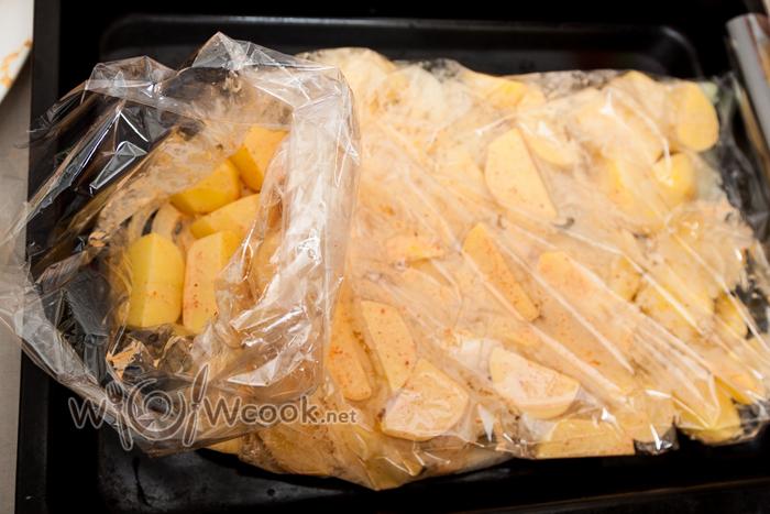 курица с картошкой и грибами в рукаве в духовке рецепт с фото
