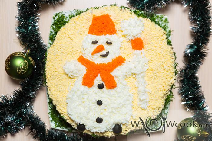 новогодний салат снеговик