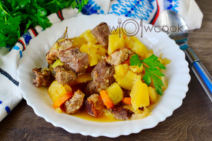 Тушеные кабачки с мясом и баклажанами рецепт с фото