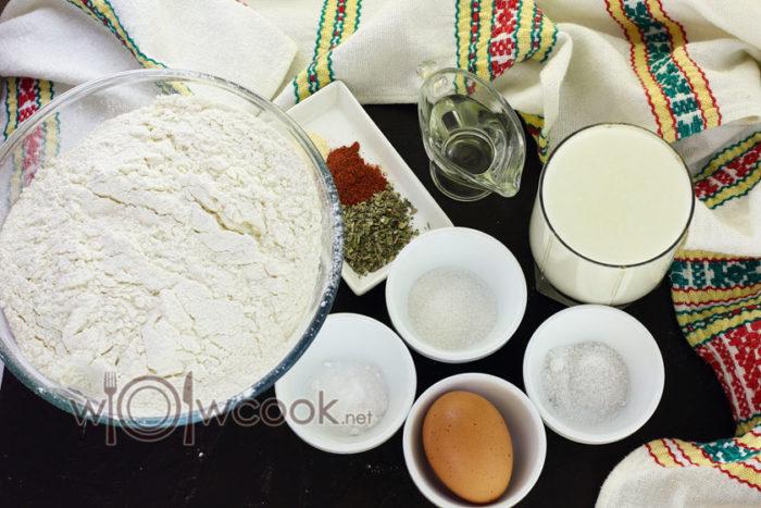 Ингредиенты для приготовления теста для пиццы на кефире