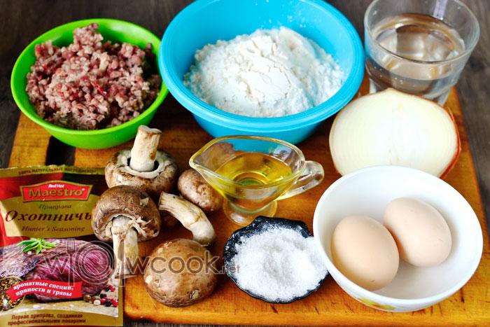 Ингредиенты для приготовления пельменей с индейкой и грибами