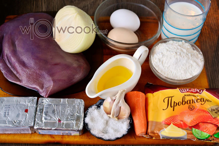 Ингредиенты для печеночных рулетиков