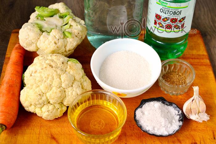 Ингредиенты для приготовления цветной капусты по-корейски