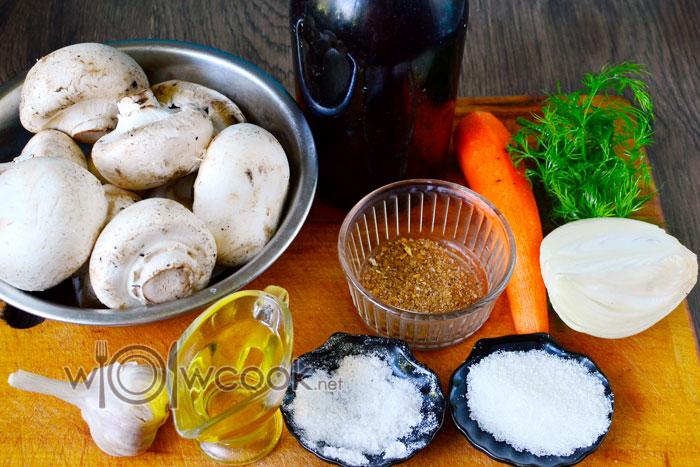 Ингредиенты для приготовления шампиньонов по-корейски