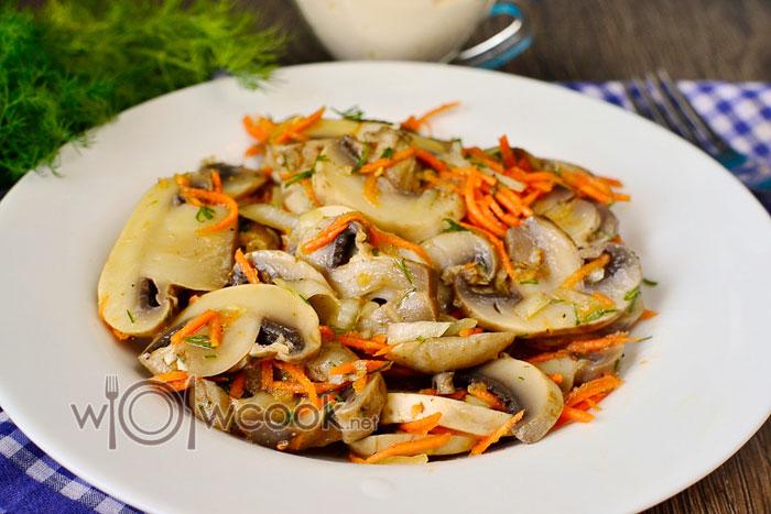 Салат с шампиньонами и морковью по корейски
