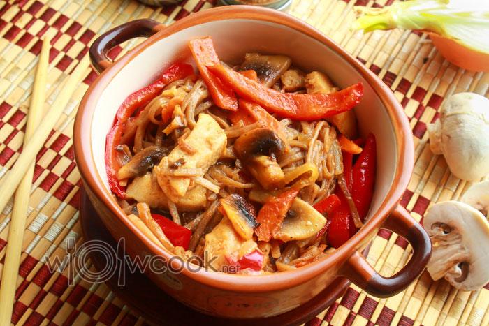 лапша соба с грибами рецепт пошагово с фото