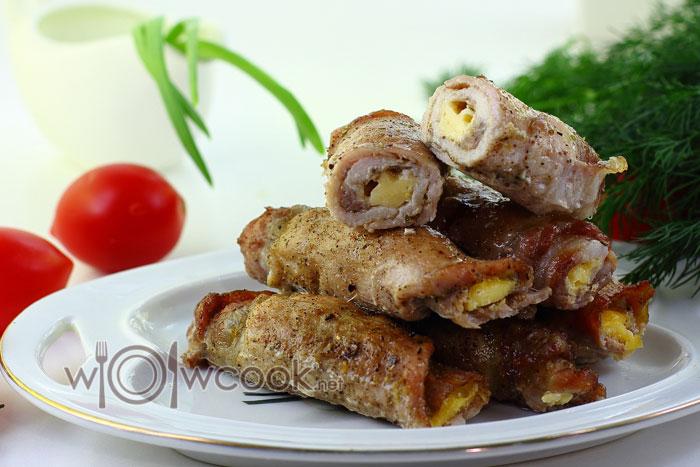 Вкусные мясные рулетики из свинины с сыром