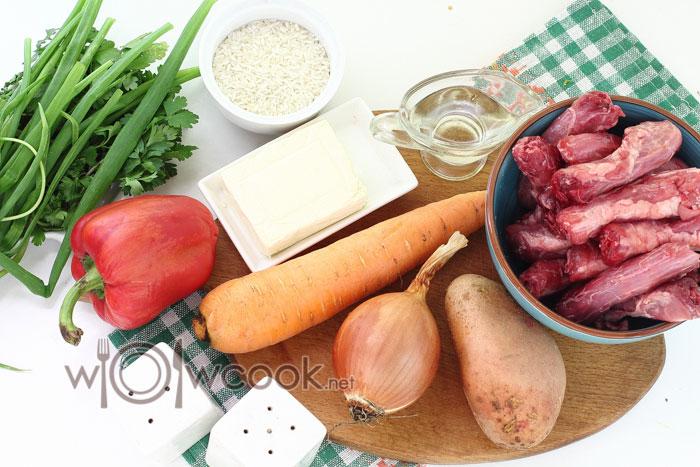 Ингредиенты для супа с куриными шеями