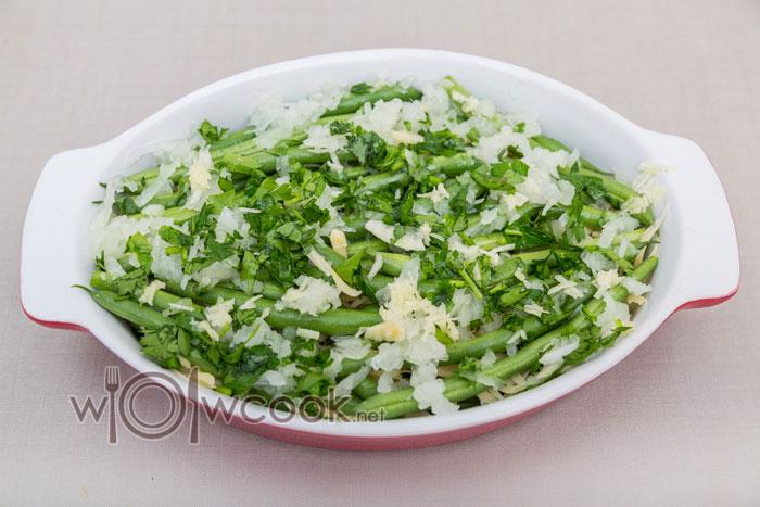 Стручковая фасоль с яйцами запечённая в духовке - рецепт пошаговый с фото