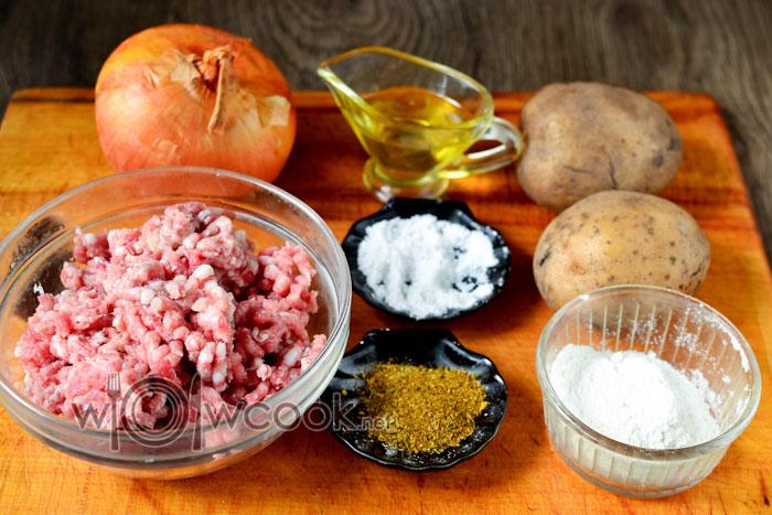 Ингредиенты для картофельных оладий с фаршем