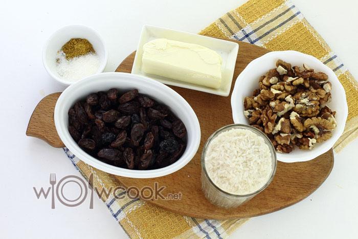 Ингредиенты для сладкого плова с изюмом