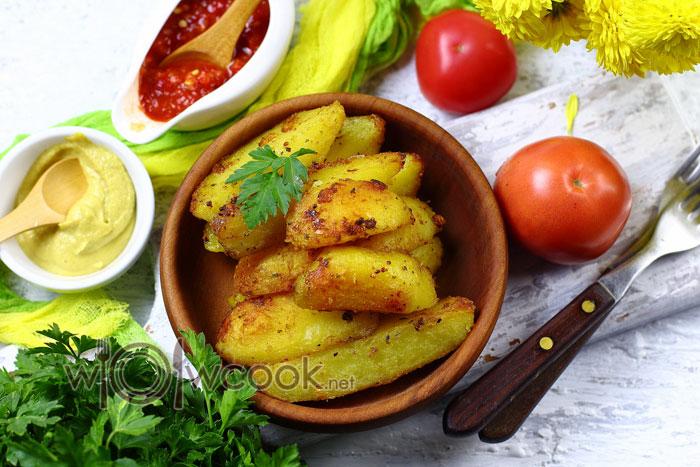 картошка запеченная в духовке дольками с чесноком