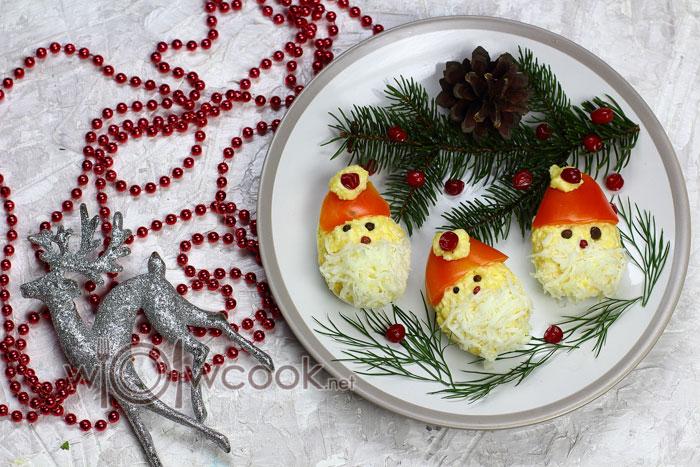 Фаршированные яйца дед мороз рецепт с фото