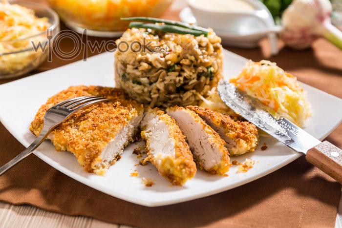 Курица в панировке на сковороде и в духовке