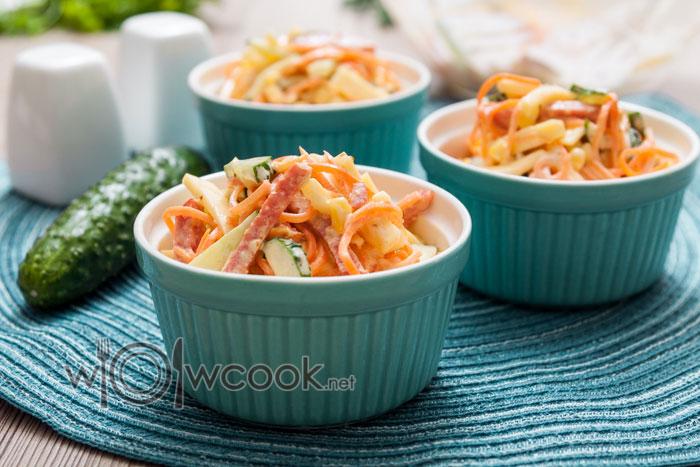 Салат Венеция рецепт с колбасой и корейской морковью