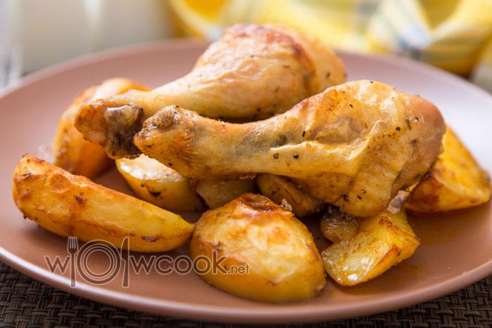 картошка с курицей на противне в духовке