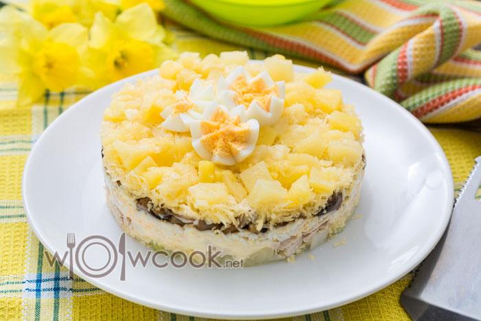 салат с грибами ананасом и куриной грудкой