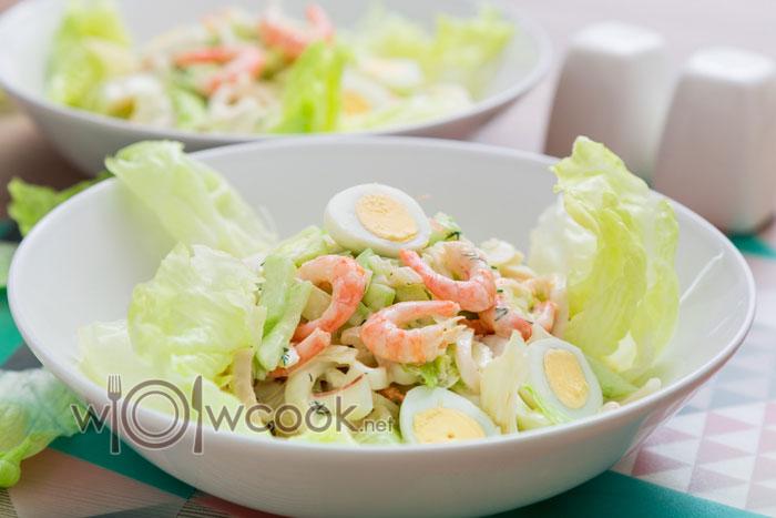 салат из кальмаров и креветок, рецепт с фото