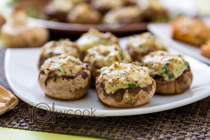 фаршированные грибы шампиньоны в духовке