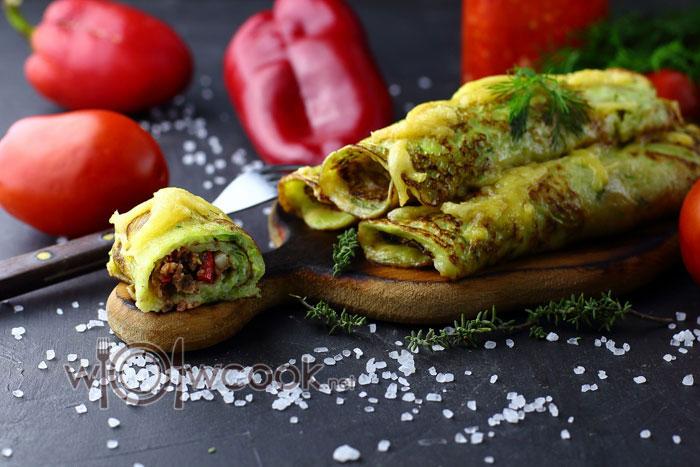 Фаршированные кабачковые блины сыром и помидорами - рецепт пошаговый с фото