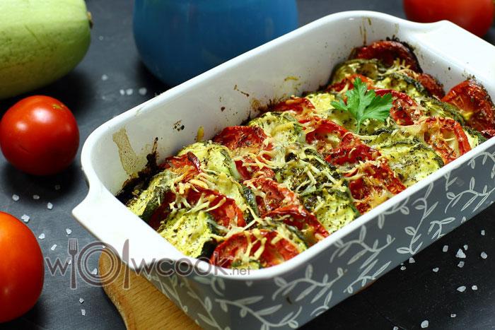 рецепт с фото запеченных кабачков с сыром и помидорами