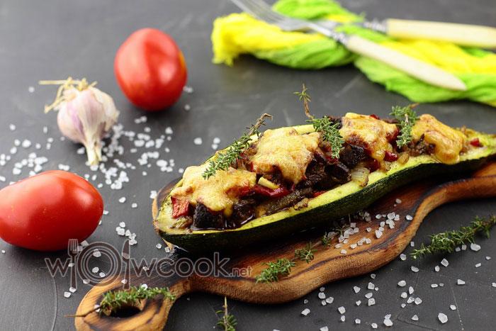 Фаршированные лодочки из кабачков в духовке рецепт с фото