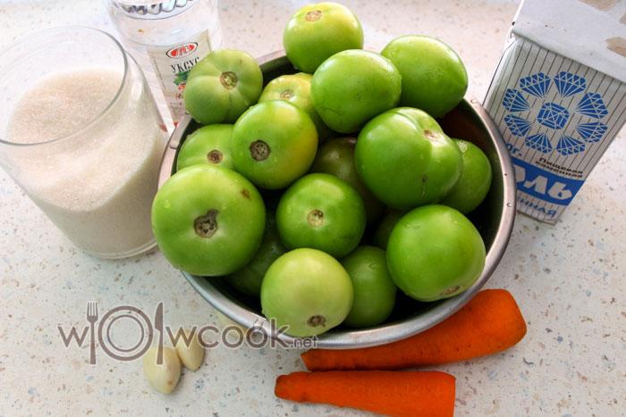 ингредиенты для маринованных зеленых помидор