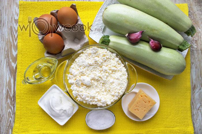 ингредиенты для запеканки из кабачков и творога