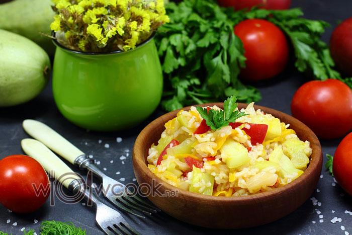 Очень вкусное рагу из кабачков с рисом рецепт с фото