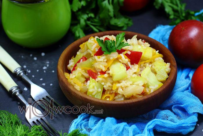 Овощное рагу с кабачками и рисом рецепт