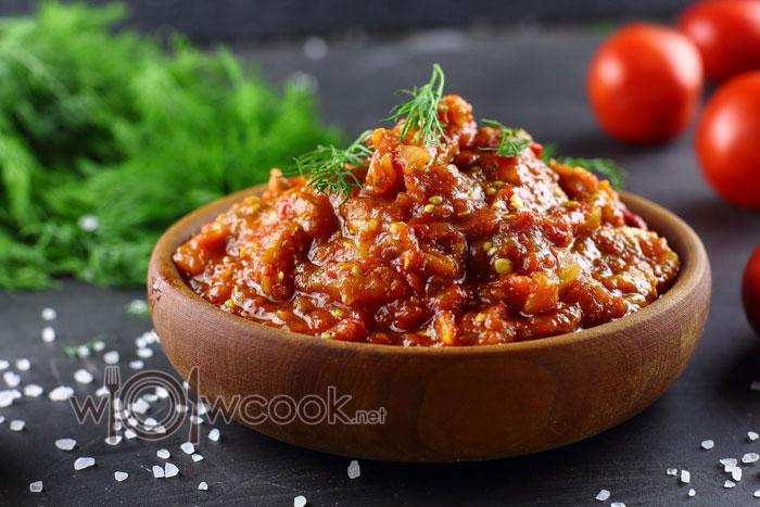 Овощной паштет из баклажанов, болгарского перца и томатом