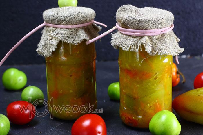 Салат из зеленых помидор на зиму в банках