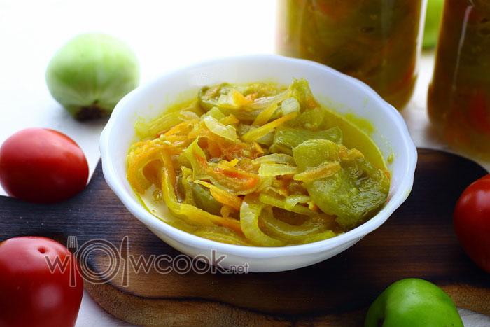 Рецепт салата с зелеными помидорами на зиму пошагово с фото