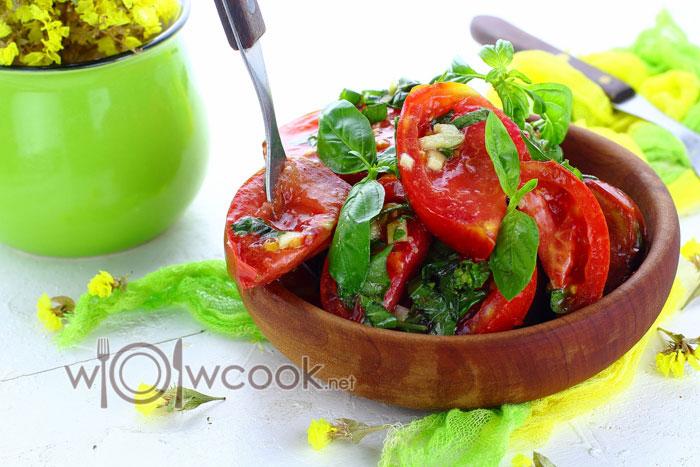 Рецепт салата из маринованных помидор с фото пошагово