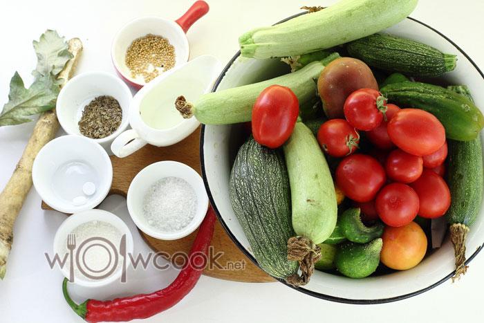 ингредиенты для ассорти из овощей на зиму